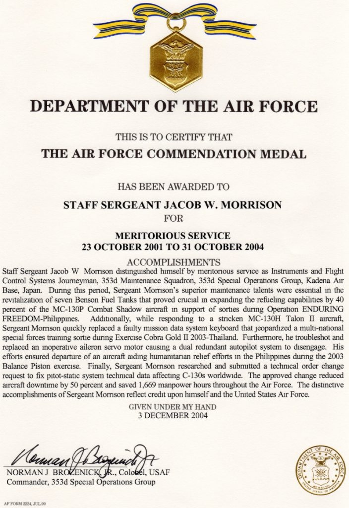 Recognition jacob morrison for Air force decoration citation