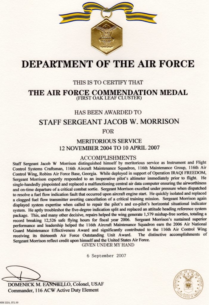 Air force commendation medal template for Air force decoration citation