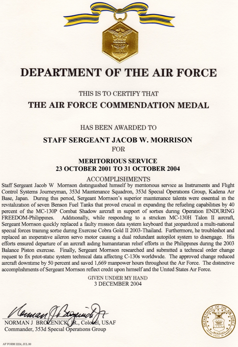 Air Force Commendation Medal - 2004