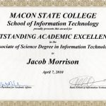 Middle Georgia State University Outstanding Academic Excellence in the Associate of Science Degree in Information Technology Certificate