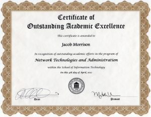 Middle Georgia State University Outstanding Academic Excellence in Network Technologies and Administration Certificate