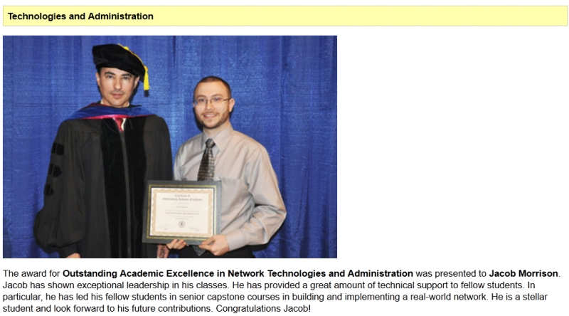 Middle Georgia State University Outstanding Academic Excellence in Network Technologies and Administration
