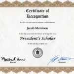 Middle Georgia State University President's Scholar Award Certificate