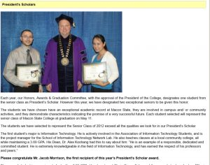 Middle Georgia State University President's Scholar Awarded to Jacob Morrison