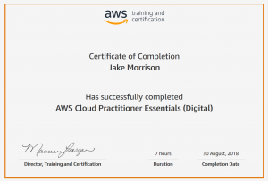 AWS training and certificiation certificate AWS Cloud Practioner Essentials